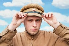 Portrait Of Soldier In Retro Style Picture Royalty Free Stock Image