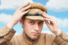 Portrait Of Soldier In Retro Style Picture Stock Photography