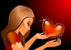 Free A Woman With A Heart Stock Photo - 17892580
