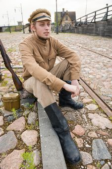 Free Retro Style Picture With Resting Soldier. Royalty Free Stock Photo - 17892745
