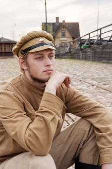 Free Retro Style Picture With Resting Soldier. Royalty Free Stock Photo - 17892765