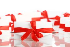 Free Gift Envelope With Awesome Red Bow Stock Images - 17892824