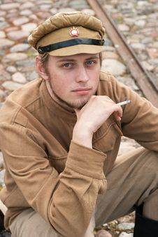 Free Retro Style Picture With Resting Soldier. Royalty Free Stock Photo - 17892825