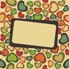 Free Postcard With Seamless Hearts Royalty Free Stock Photography - 17892847