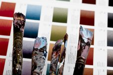 Artistic Equipment And Color Chart Stock Photography