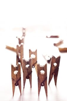 Rising Clothespins Royalty Free Stock Photography