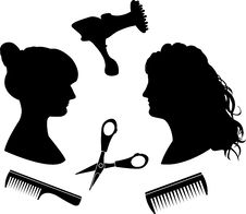 Free Silhouettes For A Hairdressing Salon Royalty Free Stock Images - 17893949