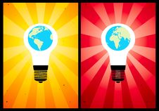 Free Bulb And Globe Royalty Free Stock Photography - 17894077
