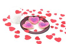 Free Valentine Cookies With A Glass Of Milk Stock Images - 17896344