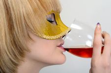 Free Young Woman With A Wineglass Stock Photo - 17896760