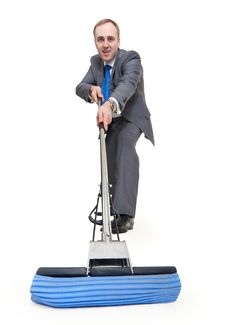 Free Businessman With A Mop Stock Photography - 17896982