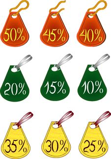 Labels With Discount Percent Stock Photography