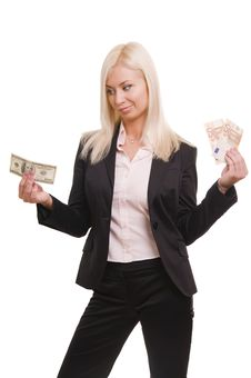 Usiness Woman Holding Euro And Dollars Stock Images