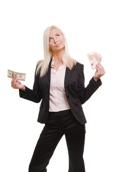 Business Woman Holding Euro And Dollars Royalty Free Stock Photos