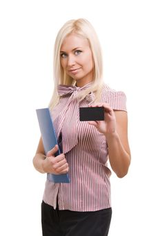 Woman Showing Blank Business Card. Royalty Free Stock Photography