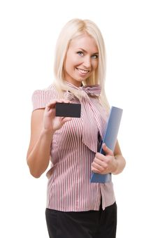 Woman Showing Blank Business Card. Royalty Free Stock Images
