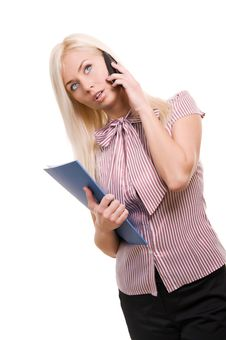Free Business Woman With Telephone And Folder Stock Photos - 17897823