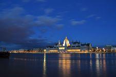 Budapest Parliament Building Panorama Stock Image