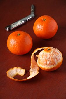 Three Mandarin Oranges Stock Photography