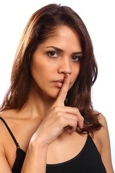 Free Beautiful Young Woman Makes Keep Quiet Sign Royalty Free Stock Images - 17898389