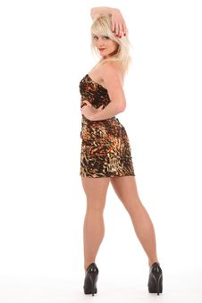 Sexy Blonde Woman In High Heels And Short Dress Royalty Free Stock Photo