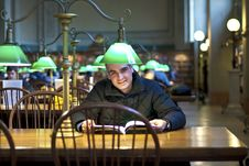 Free Reading In The Library Stock Images - 17899004
