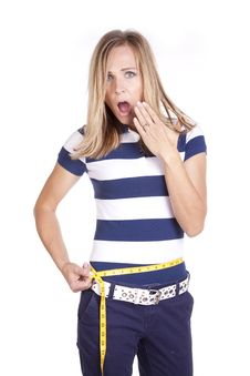 Free Woman Shocked At Measurement Royalty Free Stock Photography - 17899257