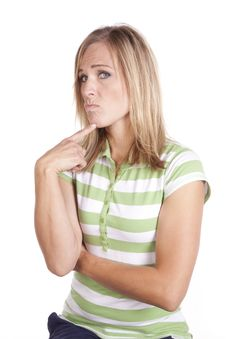Free Woman In Green And White Thinking Mad Stock Photos - 17899393