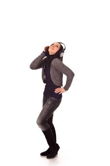 Free Dancing Woman With Headphones Royalty Free Stock Images - 17899459