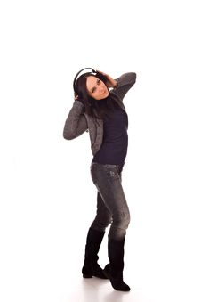 Free Dancing Woman With Headphones Royalty Free Stock Photo - 17899475