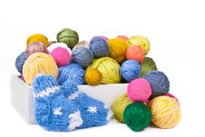 Free Wooden Box With Colorful Clews And Knitted Socks Royalty Free Stock Image - 17899476