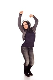 Free Dancing Woman With Headphones Stock Images - 17899484