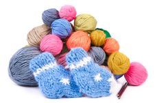 Free Pile Of Colorful Clews And Knitted Socks Royalty Free Stock Image - 17899486