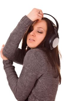 Free Dancing Woman With Headphones Royalty Free Stock Photos - 17899548