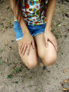 Free Girl With Hands On Legs Royalty Free Stock Photo - 1796695