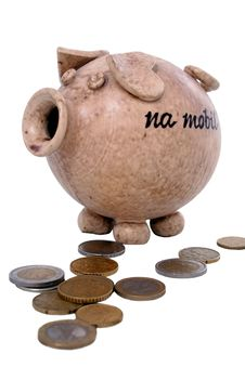 Pig And Money Stock Image