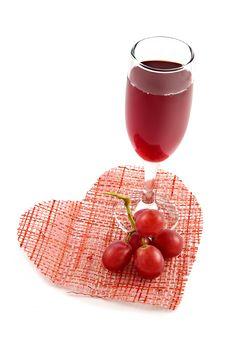 Free Glass Of Red Wine On A Background Of Heart Royalty Free Stock Images - 1798269