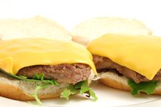 Free Open Cheeseburger Plain Royalty Free Stock Images - 1799159