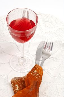 Free Red Glass Of Wine With Fork And Knife Royalty Free Stock Photos - 1799628