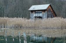 Free Boathouse On The Bank Of  Aiguebelette Lake Royalty Free Stock Images - 1799709