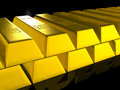 Free Gold Bars Over Black Royalty Free Stock Images - 17901049