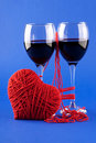 Free Two Glasses Of Wine And A Red Heart On A Blue Stock Photo - 17905920