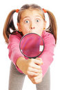 Free Interesting Girl With A Magnifying Glass In Hand Stock Images - 17906224