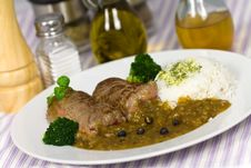 Free Beef Roulade With Rice And Sauce Stock Photo - 17900270