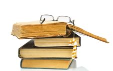 Heap Of Books And Glasses On It Stock Photography
