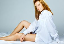 Free Woman In A White Men S Shirt Stock Photos - 17904233