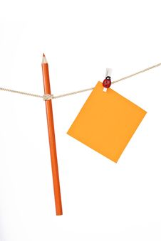 Free Note Paper And Pencil On The Rope Royalty Free Stock Images - 17904769