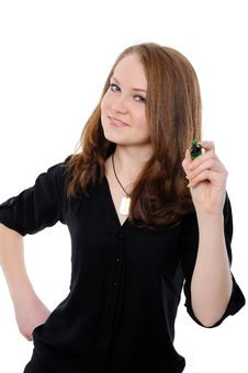 Free Young Woman Drawing Something On Screen With A Pen Royalty Free Stock Image - 17904996