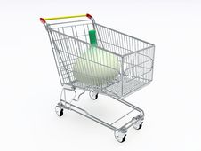 Shopping Cart With Big Onion Inside Royalty Free Stock Photos