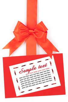 Free Blank Card On A Ribbon With A Bow Royalty Free Stock Photos - 17905468
